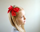 Red Hair Bow, Hand Sewn Large Satin Bow Hair Clip