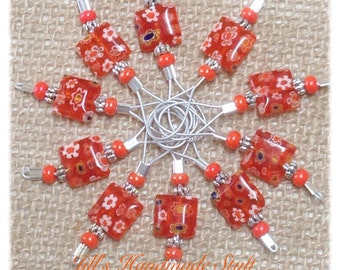 Orange Wire Loop Stitch Markers- SNAG FREE Beaded Stitch Marker- Gift for Knitter