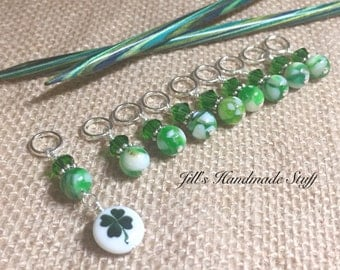 Four Leaf Clover Knitting Stitch Marker Set- Green Snag Free- St. Patrick's Day
