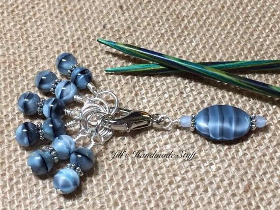 Knitting Stitch Markers & Beaded Holder Gift for Knitters