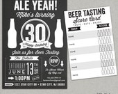 Chalkboard beer tasting birthday party invitation - Ale Yeah - 30th 40th 50th - Any age - beer score card