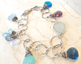 DESIGN YOUR OWN Silver Gemstone Charm Bracelet,  Oxidized, Personalized, Custom Order