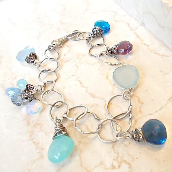 Design Your Own Custom Bangle Charm Bracelet Pick Your Charms: DESIGN YOUR OWN Silver Gemstone Charm Bracelet Oxidized