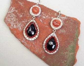 Iolite, Sunstone, Garnet and Freshwater Pearl Earrings