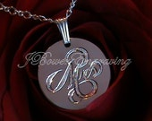 Mrs. Newly Married - Hand Engraved Pendant Necklace Sterling Silver
