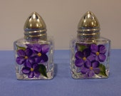 Hand Painted Mini Salt and Pepper Shakers Purple Daisies Flowers
