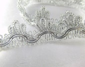 Metallic Silver Scalloped Fringed Trim 20mm Decorator, Craft or Costume Trim by the yard
