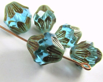 5 Large Aqua Turquoise Teal Czech Glass 13mm x 11m faceted Baroque Bicone jewelry beads with golden brown picasso finish
