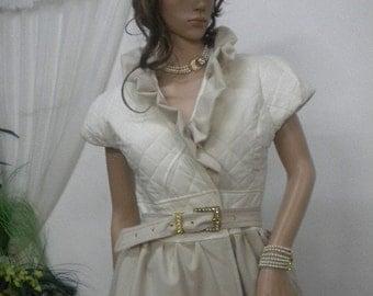 Unique women's coat in beige and ecru
