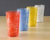 Mid Century Spaghetti Vintage Drinking Glasses, Set of Four, Housewarming Gift, Glass, Hostess Gift, Housewarming Gift, Mod Design