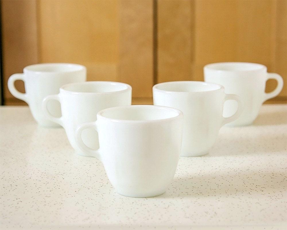 Vintage White Milk Glass Pyrex Mugs Coffee Mugs Set By