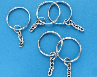 "BULK 50 Key Chain Rings Silver 25mm (1"") with Attached Chain Z059"