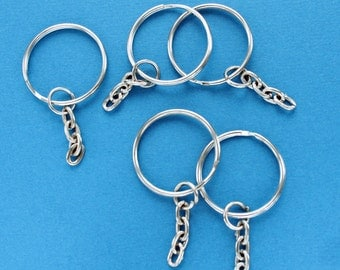 "BULK 50 Key Chain Rings Silver 25mm (1"") with Attached Chain Z59"