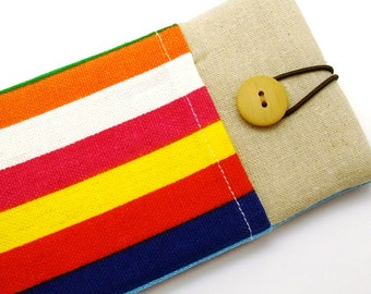 R6 iPhone sleeve, iPhone pouch, Samsung Galaxy S3, S4, Galaxy note, cell phone, ipod classic touch sleeve - Colourful strips (a)