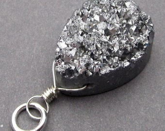 Crystal Drusy Druzy Titanium Silver Quartz Gemstone Sterling Silver Wire Wrapped Pendant Charm with Sterling Silver Jump Ring Stones 5