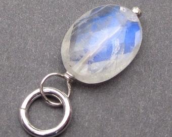 Rainbow Moonstone Pendant, Moonstone Charm, Sterling Silver Wire Wrapped Moonstone Pendant, Moonstone Jewelry, Moonstone Necklace Stones 392