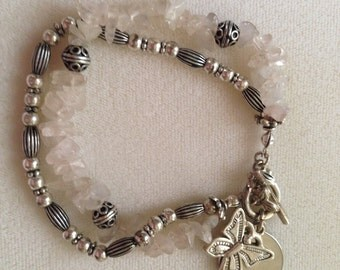 925 Sterling Silver & Rose Quartz Ladies 2 Row Bracelet Butterfly Accent