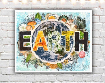 nature wall art - earth art prints - mixed media collage - art teacher gifts - earth print