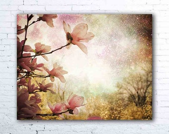 pink magnolia tree photography - surreal flower print - pastel botanical wall art