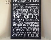 Personalized 8x12 wooden sign w vinyl subway art quote Grandma and Grandpa house rules...
