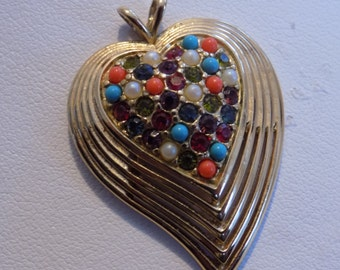 """Vintage pendant, signed """"D'Orlan"""" multicolor bead and crystal golden heart pendant, unique jewelry"""