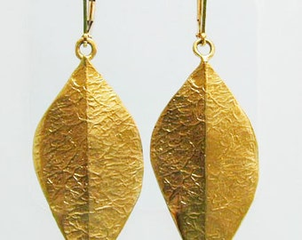 Long gold leaf earrings ,Boho leaf earrings , Boho leaves earrings ,Dangle gold leaves earrings