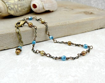 Blue Beaded Anklet, Beachy Fashion, Summer Foot Jewelry, Dainty Ankle Bracelet