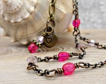 Pink Dainty Anklet, Beach Fashion, Beachy Style, Feminine Ankle Bracelet
