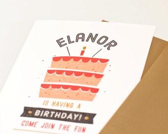 Kid's Birthday Party Invitation, Boy or Girl Birthday Invite // CAKE TIME
