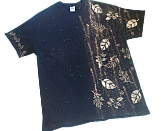XL Black T-shirt on SALE, Handpainted Black Tee with leaves,  ComFeeTee black with leaves - FREE Shipping