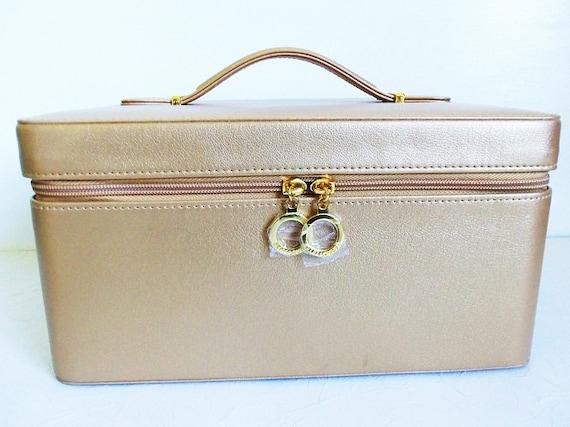 Estee lauder gold cosmetic hard train case makeup by meerkatsmanor