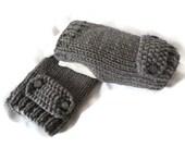 Womens Knit Fingerless Gloves, Gray Gloves, Knit Wristwarmers, Grey Handwamers