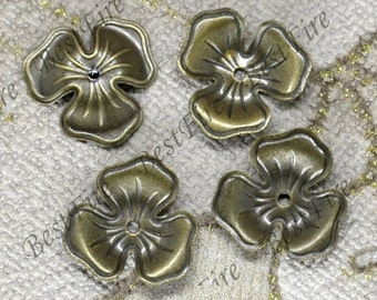 10pcs 17mm Antiqued Bronze Brass beads cap,Jewelry Connectors Setting,Cab Base,Connector Finding,Flower Findings