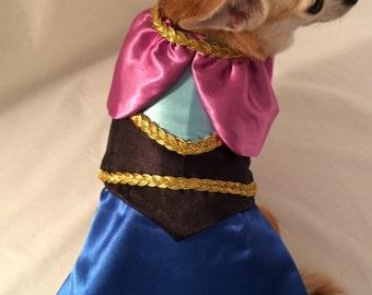 Princess Anna custom dress, pet costume, Halloween dog costume, Character dog dress, birthday dog dress, themed dog dress, fancy dog dress