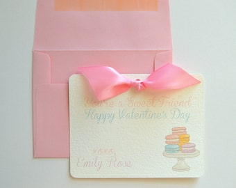 Set of 10- French Macaron Valentine's Day Card