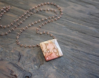 Jasper necklace on antique copper chain, long necklace, statement jewelry, handmade necklace
