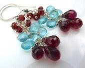Fire and Ice Earrings- Red Garnet and Blue Apatite Earrings. Cluster Earrings. Chandelier Earrings. Beadwork Earrings. BlackFriday20.