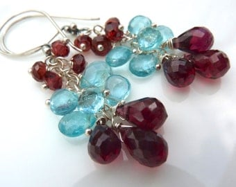 Fire and Ice Earrings- Red Garnet and Blue Apatite Earrings. Cluster Earrings. Chandelier Earrings. Beadwork Earrings.