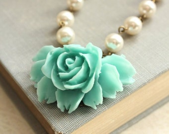 Big Aqua Rose Necklace Vintage Style Necklace Country Chic Necklace Rose Pendant Pearl Chain Romantic Flower Bridesmaids Gift Something Blue