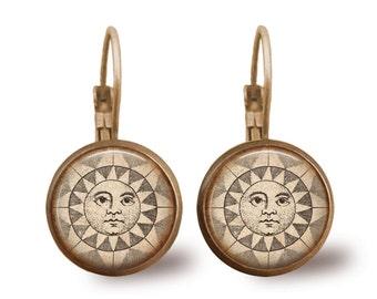 Glass Tile Earrings Sun Earrings Celestial Jewelry Sun Jewelry Brass Earrings Brass Jewelry Glass Tile Jewelry Beaded Jewelry