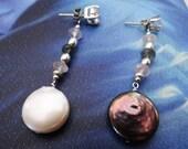Cream Eggplant Coin pearl rose quartz labradorite sterling earring jacket dangle bridal elegant