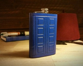 Leather TARDIS Flask - Inspired by Doctor Who