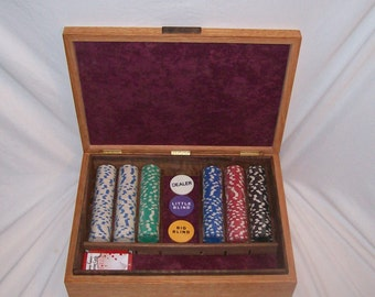 Poker Chip Box done in Quarter Sawn Oak with Stain Glass Pattern Inlayed top