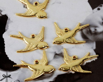 20 PCS/10 Pairs Golden plated Raw brass one  loop Bird Charm Connector Finding  (FILIG-GD-38)