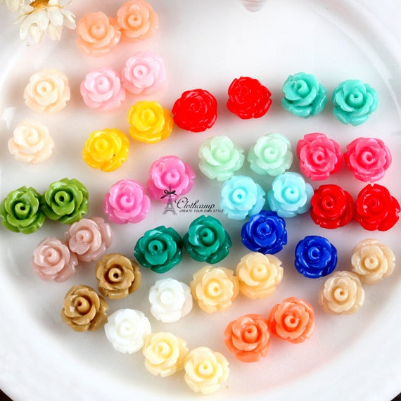 New  22colors 7mm Beautiful Mix Colorful   Flower Resin Cabochon - (CAB-EQ -MIXSS)