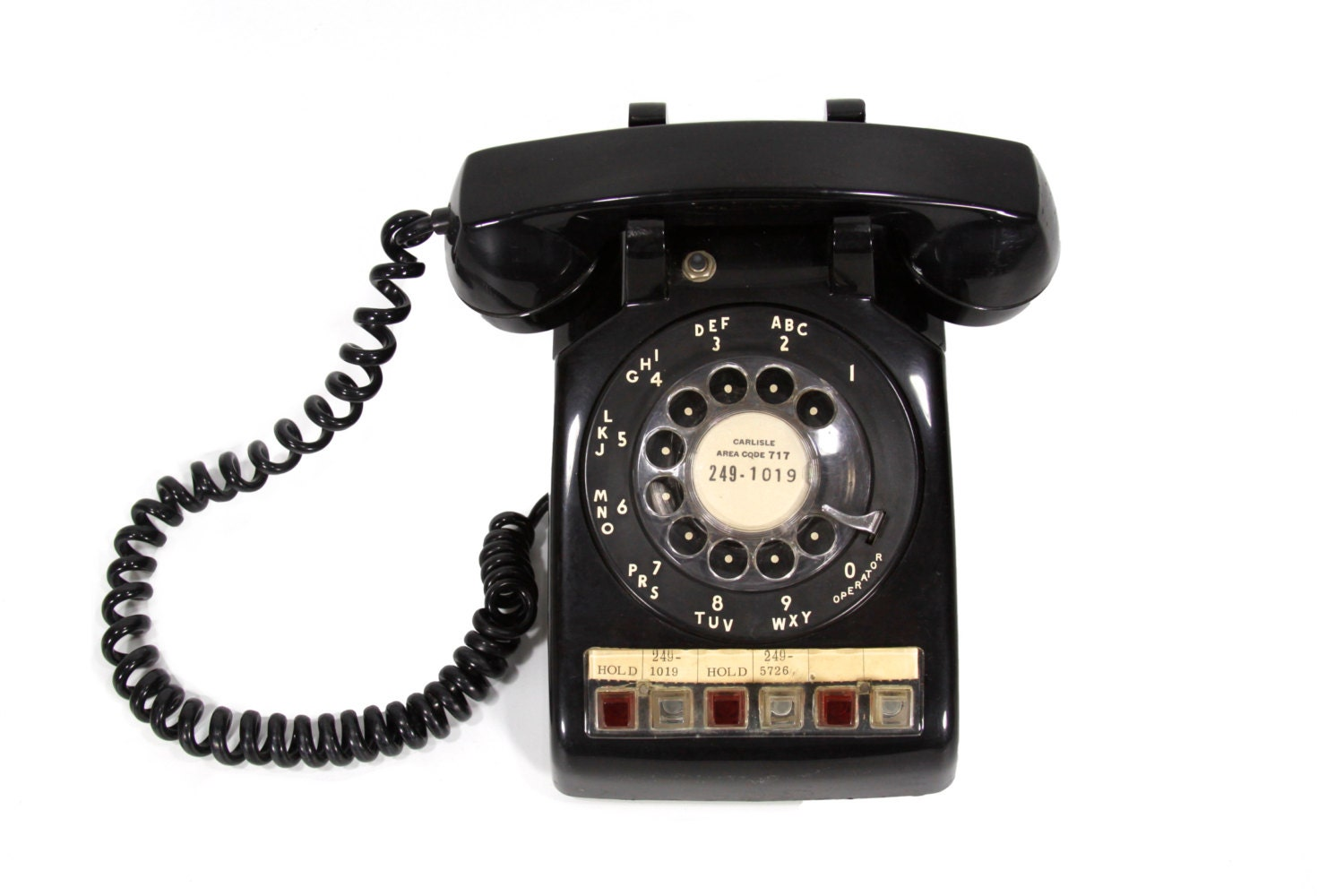 Multi-Line Rotary Phone Office Telephone in Black by PhatDog