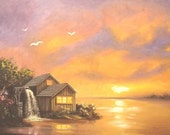 Watermill mill sunset landscape large 30x40 oils on canvas painting by RUSTY RUST / M-335