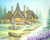 Fantasy Cottage large 24x36 original oils on canvas painting by RUSTY RUST / M-352