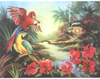 MACAW Hut illusion print by RUSTY RUST personally signed 11 x 14.5 / M-359-P