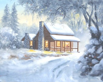 Cabin winter snow landscape 24x36 oils on canvas painting by RUSTY RUST / M-248